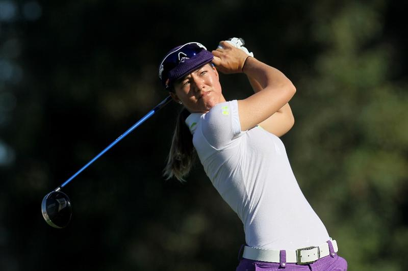 RANCHO MIRAGE, CA - MARCH 31:  Vicky Hurst hits her tee shot on the second hole during the first round of the Kraft Nabisco Championship at Rancho Mirage Country Club on March 31, 2011 in Rancho Mirage, California.  (Photo by Stephen Dunn/Getty Images)