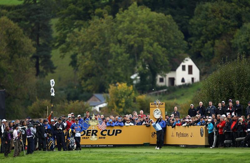 NEWPORT, WALES - OCTOBER 03:  Jim Furyk of the USA tees off on the 13th hole during the  Fourball & Foursome Matches during the 2010 Ryder Cup at the Celtic Manor Resort on October 3, 2010 in Newport, Wales.  (Photo by Richard Heathcote/Getty Images)