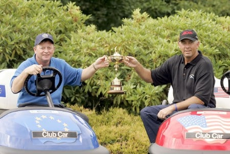Ian Woosnam, Captain of the European Ryder Cup Team (left) and Tom Lehman, Captain of the US Ryder Cup Team, hold the  Ryder Cup at the Smurfit European Open on the Palmer Course at the K Club on June 29, 2005.Photo by Pete Fontaine/WireImage.com