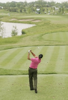David Mckenzie follows his tee shot during the final round of the LaSalle Bank Open being held at the The Glen Club in Glenview, Illinois, June 12, 2005.Photo by Mike Ehrmann/WireImage.com