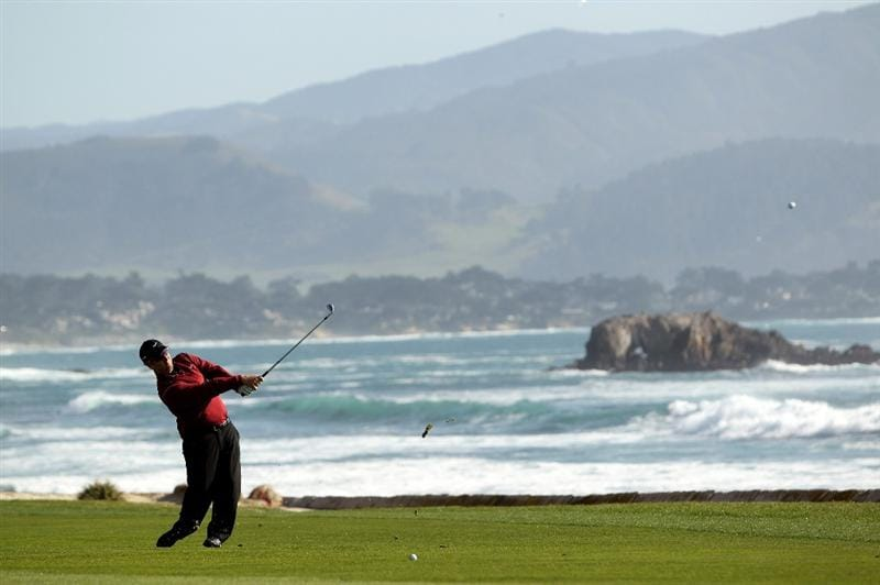 PEBBLE BEACH, CA - FEBRUARY 14:  David Duval hits his approach shot on the 18th hole during the final round of the AT&T Pebble Beach National Pro-Am at Pebble Beach Golf Links on February 14, 2010 in Pebble Beach, California.  (Photo by Ezra Shaw/Getty Images)