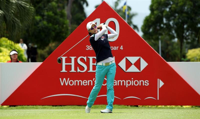 SINGAPORE - FEBRUARY 25:  Na Yeon Choi of South Korea in action during the second round of the HSBC Women's Champions at the Tanah Merah Country Club on February 25, 2011 in Singapore.  (Photo by Andrew Redington/Getty Images)