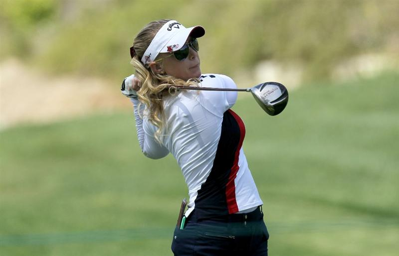CARLSBAD, CA - MARCH 26:  Morgan Pressel hits her tee shot on the fourth hole during the second round of the Kia Classic Presented by J Golf at La Costa Resort and Spa on March 26, 2010 in Carlsbad, California.  (Photo by Stephen Dunn/Getty Images)