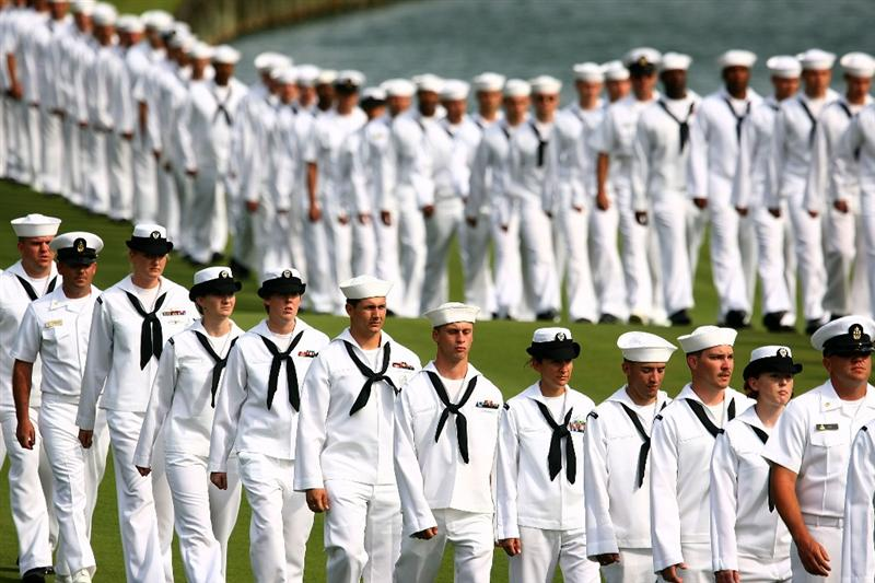PONTE VEDRA BEACH, FL - MAY 6:  Members of the Navy are seen on the 18th hole during a military tribute prior to the start of THE PLAYERS Championship on THE PLAYERS Stadium Course at TPC Sawgrass May 6, 2009 in Ponte Vedra Beach, Florida.  (Photo by Scott Halleran/Getty Images)