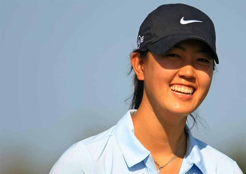 DAYTONA BEACH, FL - DECEMBER 06:  Michelle Wie smiles on the 15th hole during the fourth round of the LPGA Qualifying School at LPGA International on December 6, 2008 in Daytona Beach, Florida.  (Photo by Scott Halleran/Getty Images)