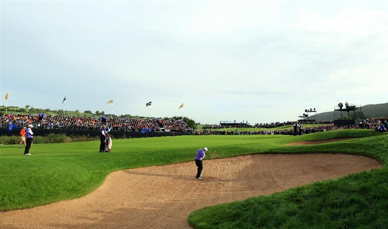 NEWPORT, WALES - OCTOBER 02:  Steve Stricker of the USA plays a bunker shot on the 14th hole during the rescheduled Morning Fourball Matches during the 2010 Ryder Cup at the Celtic Manor Resort on October 2, 2010 in Newport, Wales.  (Photo by David Cannon/Getty Images)