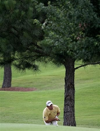 MEMPHIS, TN - JUNE 11: Lee Westwood of England watches his second shot from behind a tree on the 6th hole during the second round of the St. Jude Classic at TPC Southwind held on June 11, 2010 in Memphis, Tennessee.  (Photo by John Sommers II/Getty Images)