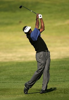 PEBBLE BEACH, CA - FEBRUARY 10: Vijay Singh of Fiji hits his second shot on the second hole during the final round of the AT&T Pebble Beach National Pro-Am on Pebble Beach Golf Links on February 10, 2008 at Pebble Beach in Pebble Beach, California.  (Photo by Stephen Dunn/Getty Images)