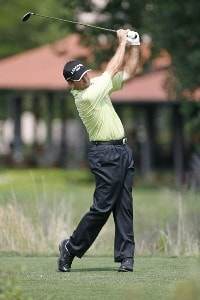 Jerry Pate hits on the 17th hole during the first round of the U.S. Senior Open at Prairie Dunes Country Club in Hutchinson,  Kansas on July 6, 2006.Photo by G. Newman Lowrance/WireImage.com