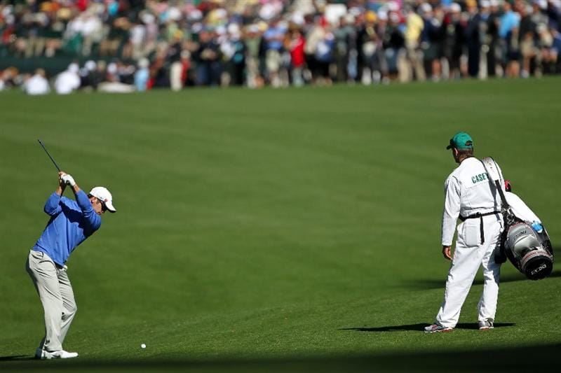 AUGUSTA, GA - APRIL 06:  Paul Casey of England hits a shot during a practice round prior to the 2011 Masters Tournament at Augusta National Golf Club on April 6, 2011 in Augusta, Georgia.  (Photo by Jamie Squire/Getty Images)