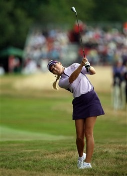SUNNINGDALE, UNITED KINGDOM - AUGUST 02:  Natalie Gulbis of the USA plays her second shot at the 1st hole during the third round of the 2008  Ricoh Women's British Open Championship held on the Old Course at Sunningdale Golf Club, on August 2, 2008 in Sunningdale, England.  (Photo by David Cannon/Getty Images)