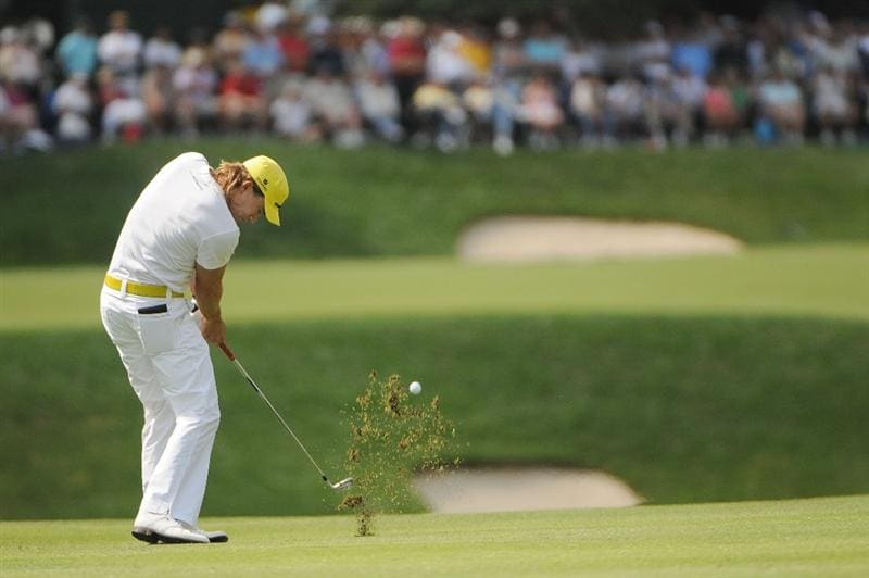 ST. LOUIS - SEPTEMBER 07 : Camilo Villegas hits his approach shot into the 10th hole  during the fourth and final round  of the BMW Championship held at Bellerive Country Club on September 7, 2008 in St. Louis, Missouri. (Photo by Marc Feldman/Getty Images)