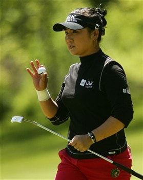 CORNING, NY - MAY 25:   Jeong Jang of South Korea waves to the gallery after saving par on the 11th hole during the final round of the LPGA Corning Classic at Corning Country Club on May 25, 2008 in Corning, New York.  (Photo by Kyle Auclair/Getty Images)