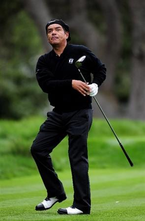 PEBBLE BEACH, CA - FEBRUARY 10:  George Lopez plays a shot during the 3M Celebrity Challenge at the AT&T Pebble Beach National Pro-Am at Pebble Beach Golf Links on February 10, 2010 in Pebble Beach, California.  (Photo by Stuart Franklin/Getty Images)