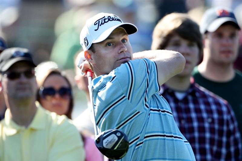 AUGUSTA, GA - APRIL 04:  Nick Watney watches a shot during a practice round prior to the 2011 Masters Tournament at Augusta National Golf Club on April 4, 2011 in Augusta, Georgia.  (Photo by Andrew Redington/Getty Images)