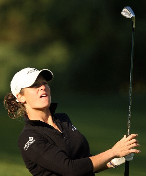 HUIXQUILUCAN, MEXICO - MARCH 15:  Liz Janangelo of the USA hits her approach shot on the fourth hole during the second round of the MasterCard Classic at Bosque Real Country Club on March 15, 2008 in Huixquilucan, Mexico.  (Photo by Scott Halleran/Getty Images)