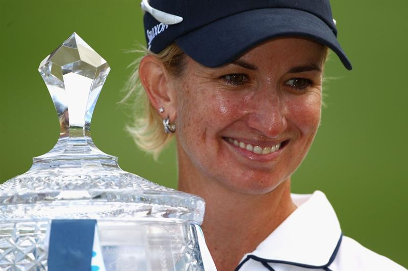GOLD COAST, AUSTRALIA - MARCH 07:  Karrie Webb of Australia poses with her winners trophy after round four of the 2010 ANZ Ladies Masters at Royal Pines Resort on March 7, 2010 in Gold Coast, Australia.  (Photo by Ryan Pierse/Getty Images)