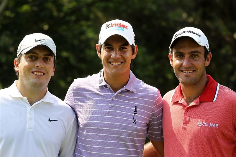 PONTE VEDRA BEACH, FL - MAY 10:  (L-R) Francesco Molinari of Italy, Matteo Manassero of Italy and Edoardo Molinari of Italy smile together during a practice round prior to the start of THE PLAYERS Championship held at THE PLAYERS Stadium course at TPC Sawgrass on May 10, 2011 in Ponte Vedra Beach, Florida.  (Photo by Scott Halleran/Getty Images)