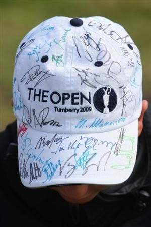 TURNBERRY, SCOTLAND - JULY 15:   General detail of an autographed Open Championship cap during a practice round prior to the 138th Open Championship on the Ailsa Course, Turnberry Golf Club on July 15, 2009 in Turnberry, Scotland.  (Photo by Andrew Redington/Getty Images)