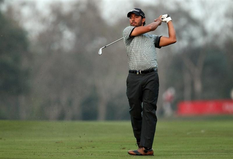 NEW DELHI, INDIA - FEBRUARY 19:  Pablo Larrazabal of Spain hits a tee shot during the third round of the Avantha Masters held at The DLF Golf and Country Club on February 19, 2011 in New Delhi, India.  (Photo by Ian Walton/Getty Images)