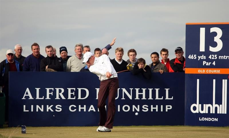 ST ANDREWS, SCOTLAND - OCTOBER 05:  Simon Dyson of England drives off the 13th tee during the final round of The Alfred Dunhill Links Championship at The Old Course on October 5, 2009 in St.Andrews, Scotland. (Photo by Andrew Redington/Getty Images)
