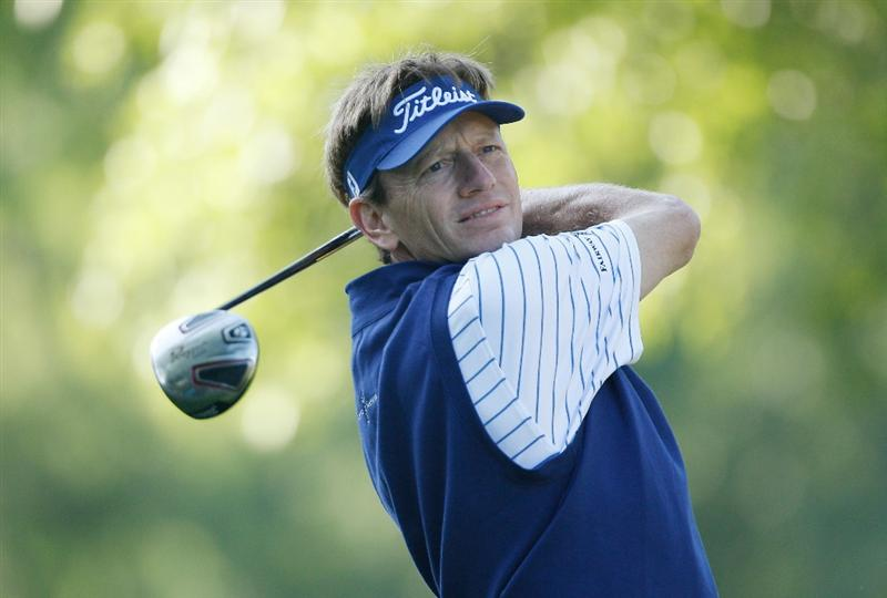 CHARLOTTE, NC - APRIL 30:  Brad Faxon watches his tee shot on the fourth hole during the second round of the 2010 Quail Hollow Championship at the Quail Hollow Club on April 30, 2010 in Charlotte, North Carolina.  (Photo by Scott Halleran/Getty Images)