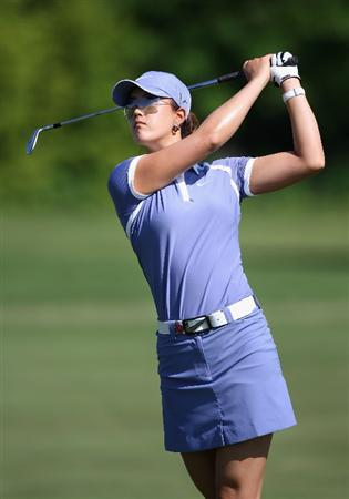 SPRINGFIELD, IL - JUNE 05:  Michelle Wie hits her second shot on the fourth hole during the second round of the LPGA State Farm Classic golf tournament at Panther Creek Country Club on June 5, 2009 in Springfield, Illinois.  (Photo by Christian Petersen/Getty Images)
