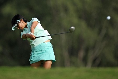 KAHUKU, HI - FEBRUARY 14:  Ai Miyazato of Japan hits her tee shot on the 16th hole during the first round of  the SBS Open on February 14, 2008  at the Turtle Bay Resort in Kahuku, Hawaii.  (Photo by Andy Lyons/Getty Images)