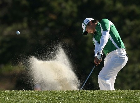 PEBBLE BEACH, CA - FEBRUARY 10: Jason Day hits out of a fairway bunker on the 13th hole during the final round of the AT&T Pebble Beach National Pro-Am on Pebble Beach Golf Links on February 10, 2008 in Pebble Beach. California.  (Photo by Stephen Dunn/Getty Images)