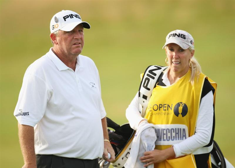 TURNBERRY, SCOTLAND - JULY 16:  Mark Calcavecchia of USA looks on with his wife/caddy Brenda during round one of the 138th Open Championship on the Ailsa Course, Turnberry Golf Club on July 16, 2009 in Turnberry, Scotland.  (Photo by Ross Kinnaird/Getty Images)