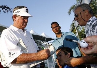 Bobby Wadkins signs autographs after winning the 2007 ACE Group Classic with a birdie putt on the 18th hole Sunday, February 25, 2007, at Quail West in Naples, Florida. Champions Tour - The 2007 ACE Group Classic - Final RoundPhoto by Kevin C.  Cox/WireImage.com