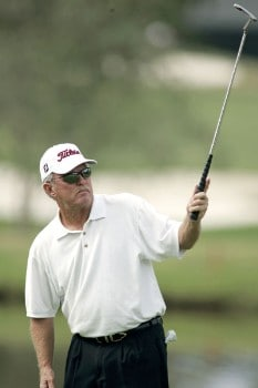 Bob Eastwood watches his putt on the first hole during the second round of the 2005 SAS Championship on Saturday, October 1, 2005 at Prestonwood Country Club in Cary, North Carolina.Photo by Grant Halverson/WireImage.com