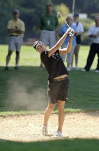 Hee-Won Han plays from a fairway bunker on the 18th hole during the second round of the Safeway Classic at Columbia-Edgewater Country Club in Portland, Oregon on August 19, 2006.Photo by Al Messerschmidt/WireImage.com