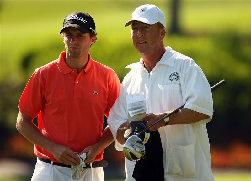 DUBLIN, OH - JUNE 05:  Reinier Saxton of Holland chats with his caddie on the tenth hole during the second round of the Memorial Tournament at the Muirfield Village Golf Club on June 5, 2009 in Dublin, Ohio.  (Photo by Scott Halleran/Getty Images)