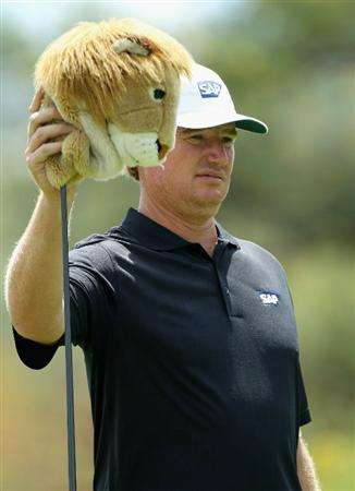 SUN CITY, SOUTH AFRICA - DECEMBER 01:  Ernie Els of South Africa selects his driver with a lion head cover during the pro-am for the 2010 Nedbank Golf Challenge at the Gary Player Country Club Course  on December 1, 2010 in Sun City, South Africa.  (Photo by Warren Little/Getty Images)