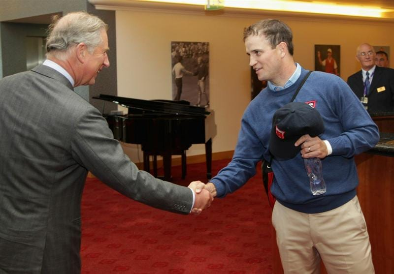 NEWPORT, WALES - SEPTEMBER 29:  (L-R) Prince Charles, The Prince of Wales meets Zach Johnson of Team USA during an official visit prior to the 2010 Ryder Cup at the Celtic Manor Resort on September 29, 2010 in Newport, Wales. (Photo by Andrew Redington/Getty Images)