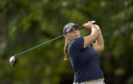 PORTLAND, OR - AUGUST 23: Kelli Kuehne hits her tee shot at the par-4 ninth hole, during the second round of the LPGA Safeway Classic at the Columbia Edgewater Country Club on August 23, 2008 in Portland, Oregon. (Photo by Steven Gibbons/Getty Images)