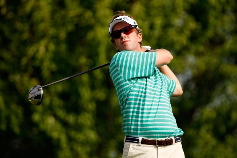 CHASKA, MN - AUGUST 13:  Brett Quigley watches his tee shot on the third hole during the first round of the 91st PGA Championship at Hazeltine National Golf Club on August 13, 2009 in Chaska, Minnesota.  (Photo by Streeter Lecka/Getty Images)