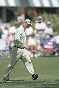 Jerry Kelly reacts to a missed birdie putt on the 18th hole to tie the course record.  Kelly has the early lead  in the first round of the Verizon Heritage Classic at the Harbour Town Golf Links in Hilton Head, South Carolina on April 12, 2007. Photo by Michael Cohen/WireImage.com