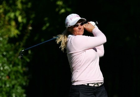 DANVILLE, CA - OCTOBER 5:  Maria Hjorth of Sweden makes a tee shot on the 14th hole during the second round of the LPGA Longs Drugs Challenge at the Blackhawk Country Club October 5, 2007 in Danville, California.  (Photo by Robert Laberge/Getty Images)