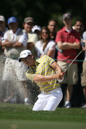 DORAL, FL - MARCH 13:  Camilo Villegas of Colombia hits out of the bunker on the seventh hole during round three of the 2010 WGC-CA Championship at the TPC Blue Monster at Doral on March 13, 2010 in Doral, Florida.  (Photo by Marc Serota/Getty Images)