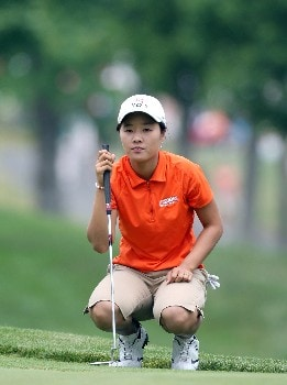 HAVRE DE GRACE, MD - JUNE 10:  Na On Min of South Korea lines up a par putt at the par 4, 1st hole during the final round of the 2007 McDonald's LPGA Championship on June 10, 2007 at Bulle Rock Golf Course in Havre de Grace, Maryland.  (Photo by David Cannon/Getty Images)