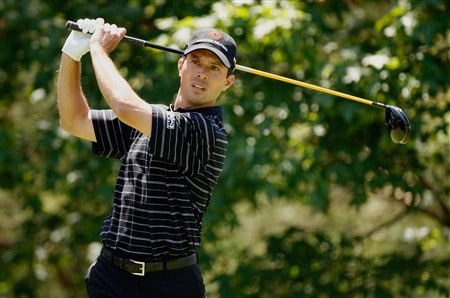 DUBLIN, OH - JUNE 01:  Mike Weir of Canada hits his tee shot on the 2nd hole during the final round of The Memorial on June 1, 2008 at the Muirfield Village Golf Club in Dublin, Ohio.  (Photo by Hunter Martin/Getty Images)