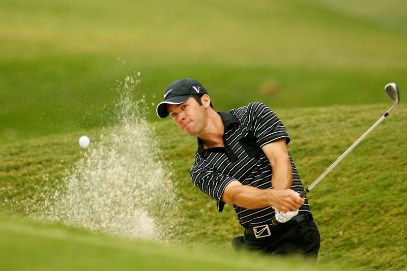 ATLANTA - SEPTEMBER 26:  Paul Casey of England plays from a bunker on the second hole during the final round of THE TOUR Championship presented by Coca-Cola at East Lake Golf Club on September 26, 2010 in Atlanta, Georgia.  (Photo by Scott Halleran/Getty Images)