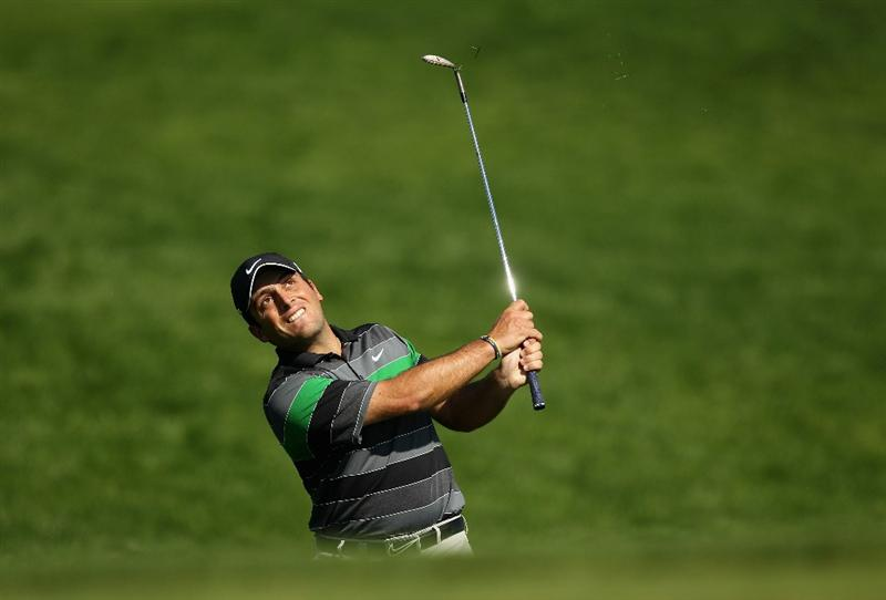 VILAMOURA, PORTUGAL - OCTOBER 17:  Francesco Molinari of Italy pitches onto the 15th green during the final round of the Portugal Masters at the Oceanico Victoria Golf Course on October 17, 2010 in Vilamoura, Portugal.  (Photo by Richard Heathcote/Getty Images)
