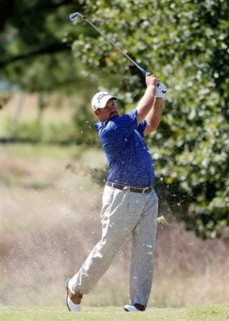 MADISON, MS - OCTOBER 02: Brendon de Jonge of Zimbabwe hits his tee shot on the second tee box during the third round of the Viking Classic held at Annandale Golf Club on October 2, 2010 in Madison, Mississippi.  (Photo by Michael Cohen/Getty Images)