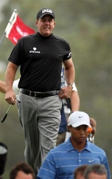 SAN DIEGO - JUNE 12:  Phil Mickelson walks off the second green behind Tiger Woods during the first round of the 108th U.S. Open at the Torrey Pines Golf Course (South Course) on June 12, 2008 in San Diego, California.  (Photo by Ross Kinnaird/Getty Images)
