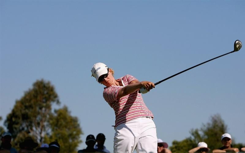 MELBOURNE, AUSTRALIA - FEBRUARY 14:  Karrie Webb of Australia tees off on the 16th hole during day three of the 2009 Women`s Australian Open held at the Metropolitan Golf Club February 14, 2009 in Melbourne, Australia.  (Photo by Robert Prezioso/Getty Images)