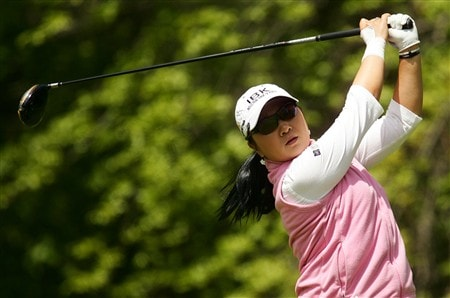 CORNING, NY - MAY 24:   Jeong Jang of South Korea hits her tee shot on the 12th hole during the third round of the LPGA Corning Classic at Corning Country Club on May 24, 2008 in Corning, New York.  (Photo by Kyle Auclair/Getty Images)