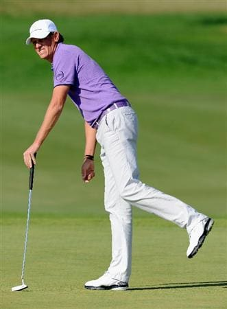 VILLAMOURA, PORTUGAL - OCTOBER 16:  Maarten Lafeber of The Netherlands reacts to his putt on the nineth hole during the third round of the Portugal Masters at the Oceanico Victoria Golf Course on October 16, 2010 in Villamoura, Portugal.  (Photo by Stuart Franklin/Getty Images)